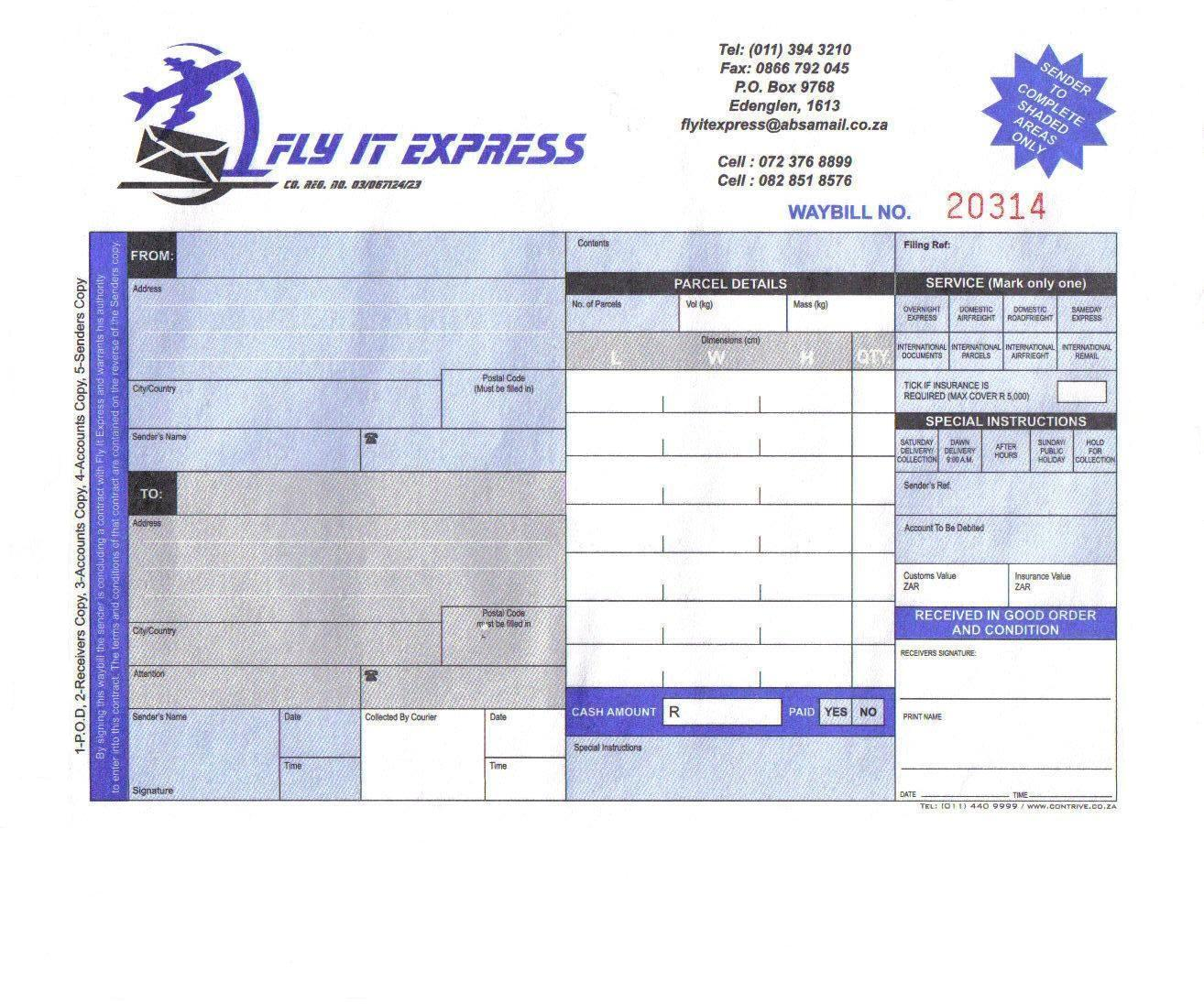 view a sample waybill
